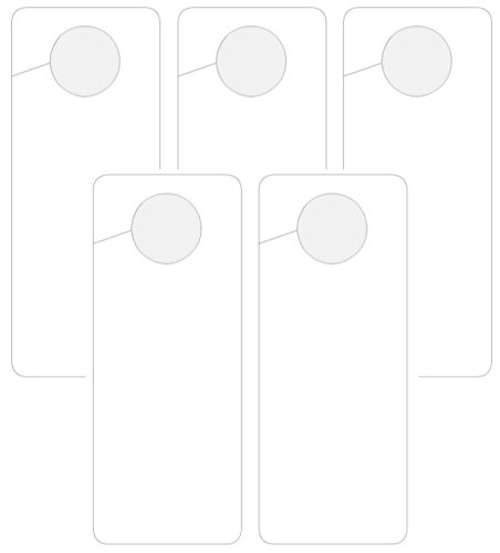 """5 空白,""""ERASABLE""""(如果使用干擦标记)塑料门把手挂钩,写下您自己的信息,20.32 cm 高 x 8.125 cm 宽,0.38 cm 厚 PVC 标志 (5)"""