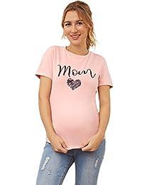 Floerns 女式妈妈字母印花孕妇弹力 T 恤上衣