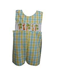Dana Kids 男童春夏长颈鹿 - 驼色和仙人掌 - 航海手抽褶连衣裤 6 个月至 4 岁