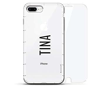豪华设计师,3D 印花,时尚,气袋垫,360 玻璃保护膜套装手机壳 iPhone 8/7 Plus - 透明LUX-I8PLAIR360-NMTINA2 NAME: TINA, MODERN FONT STYLE 透明