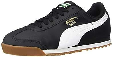 PUMA 儿童 Roma Basic 运动鞋 黑色/白色 13.5 Little Kid