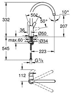 GROHE 高仪 BauEdge   BauFlow   单手水槽电池,DN 15   镀铬   带杠杆 铬 31538001