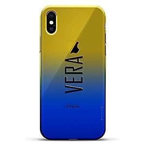 豪华设计师,3D 印花,时尚,高端,变色效果手机壳,适用于 iPhone Xs/X - 黄昏蓝小白色棒球图案LUX-IXCRM2B-NMVERA2 NAME: VERA, MODERN FONT STYLE 蓝色(Dusk)