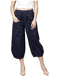 Jaipur Kurti 女式*蓝纯色棉粗纺长裤
