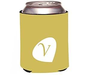 "Rikki Knight RKws-KOOZIE-44174 ""Letter V Honey Mustard Monogram Initial Petal Leaves Fall Winter Design"" Beer Can/Soda Drink Cooler Koozie"