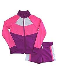 Avia 女孩粉色和紫色拉链夹克和短裤运动套装