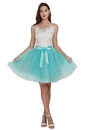 女式高腰公主薄纱裙成人舞蹈衬衣 A 字型婚礼派对短裙 天蓝色 One size