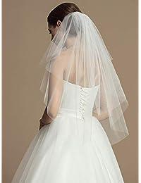 Unsutuo 2 层新娘头纱 短指尖 新娘薄纱头纱 带梳子和切边