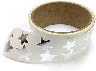 金属箔星形贴纸,各种尺寸,9.53 厘米和 2.54 厘米 - 每卷 476 个标签,卷上带有穿孔,每 10 个标签后 银色