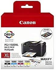 Canon 佳能 PGI1500XL 套裝 4 個原裝打印機墨盒 可兼容打印機MB2050 黑色/青色/洋紅/黃色