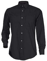 George 男式经典修身长袖府绸纯色纽扣衬衫
