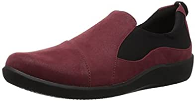 Clarks 女士 CloudSteppers Sillian Paz 一脚蹬乐福鞋 Burgundy 合成牛巴革 5.5