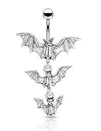 Pierced Owl Gothic 三重吸血棒悬挂肚脐环
