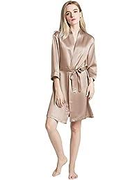 ellesilk 女式真丝睡袍短款丝绸睡衣高品质桑蚕丝