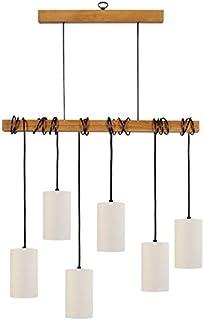 Tosel 21061 枝形吊灯,6 盏灯,E14/40 W 木质,黑色,80 x 180 厘米