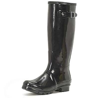 Womens Original Tall Gloss Winter Waterproof Wellies Rain Wellington Boots 黑色
