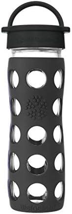 Lifefactory 475ml经典盖玻璃饮料瓶 玛瑙黑