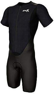 Sparx 短袖 Aero 压缩铁人三项三件套柔软麂皮紧身衣黑色