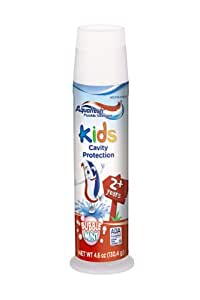 Aquafresh 儿童牙膏,泡沫薄荷味,4.6 盎司(6 支装)