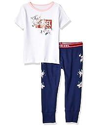 Diesel 女童印花 T 恤和裤子睡衣套装