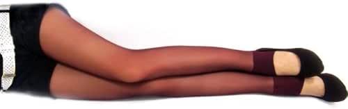 姿多美绢感觉 透明踩脚裤( 透肉显瘦)(紫红色)63#(3双装)