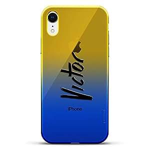 奢华设计师,3D 印花,时尚,高端,高端,Chameleon 变色效果手机壳 iPhone XrLUX-IRCRM2B-NMVICTOR1 NAME: VICTOR, HAND-WRITTEN STYLE 蓝色(Dusk)