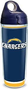 Tervis 1325219 NFL Los Angeles Chargers - Touchdown 隔热玻璃杯带包边和*蓝旅行盖,473.18 克 - 共聚酯,透明 透明 24 oz Water Bottle - Tritan 1325210