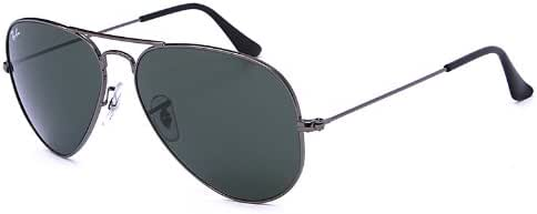 Ray-Ban 雷朋 AVIATOR飞行员系列太阳镜特惠款 RB3025 W0879 绿灰G15 枪色镜架(镜腿长135*镜片宽58*鼻梁宽14mm)(亚马逊自营商品, 由供应商配送)