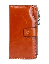 女式真皮手腕钱包多槽手提包钱包,适用于信用卡、驾驶证、硬币、手机。