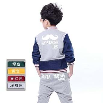 秋装韩版童装男童套装 儿童中大童牛仔运动休闲套装 浅灰色 150(建议140cm)