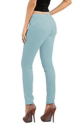 Hybrid & Co. 女士提臀超舒适弹力牛仔布紧身瑜伽牛仔裤 粉蓝色 15