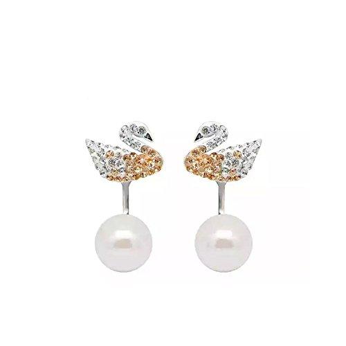 ジュン彼の宝石類11.11特別な韓国のポップアート白黒白鳥真珠の純銀製スタッドピアススワロフスキー要素付きイヤリングOne Two Wear(White Swan)
