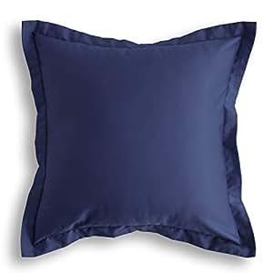 """Jeanerlor 棉质方形装饰抱枕套靠垫套,带双针缝边,沙发,椅子,躺椅,客厅,长凳,儿童,儿童。 深蓝色 24""""x24"""" COOJEANBL034"""