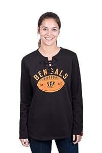 Icer Brands NFL 辛辛那提猛虎队女式羊毛运动衫蕾丝长袖衬衫,S 码,黑色