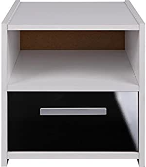 Home Source 高光泽 1 抽屉床头柜白色黑色床边桌夜架 Sywell