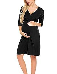 Larenba 女式七分袖交货/人工/孕妇/哺乳连衣裙