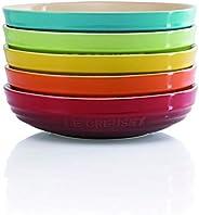 Le Creuset 酷彩 圆形深盘子 餐具 彩虹色 耐热耐冷 支持微波炉 5件装 20cm【日本正规销售品】