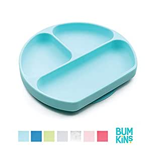 Bumkins 蓝色手握式硅胶食盘