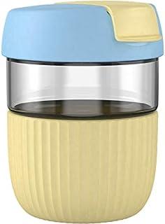 RUIWANG 蓝色和奶油黄色可重复使用彩虹瓶,12 盎司高硼硅玻璃水瓶带盖,易于饮用和防漏设计。