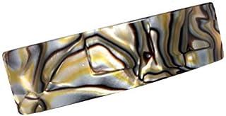 French Amie 精美长方形百叶草手工东京、缟玛瑙和象牙白自动发卡夹 - 持久耐用 8 cms