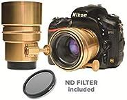 Glide 齿轮 Nikon Bokeh 黄铜色 Petzval 镜头 58mm 手动对焦 Prime 镜头 f1.8 包括中性*过滤器