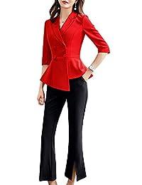 女式 2 件套办公外套修身工作服女式运动夹克,裤子/裙装