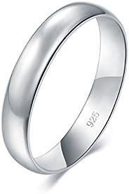 BORUO 925 純銀戒指高拋光平頂抗衰退舒適貼合婚戒 4 毫米戒指