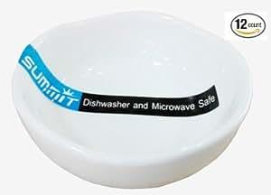 """*白色扇贝形陶瓷酱盘(12 件) 白色 2.75""""D X 1.2""""H"""
