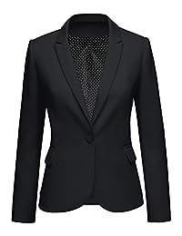 GRAPENT 女式缺口翻领商务休闲口袋办公西装外套