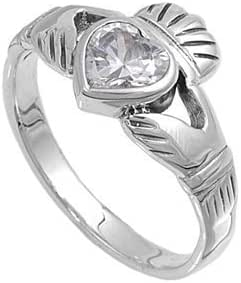 Sterling Silver Ladies Heart Shape Cubic Zirconia CZ Irish Friendship and Love Band Claddagh Ring (Available in size 6, 7, 8) size 8
