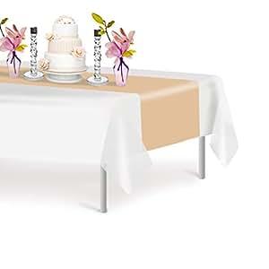 高级塑料桌巾 35.56 x 274.32 厘米。 Grandipity 装饰桌巾,适用于晚宴派对和活动,装饰 6-12 件装 象牙色 6 Pack Rectangle unknown