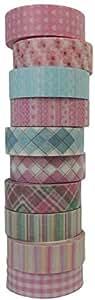 水洗胶带 - 每套 10 卷 - 各种图案装饰性华盛顿面罩胶带 - 适用于 DIY 工艺品 - 15mm x 10m(0.59 英寸 x 32.8 英尺) W6 NA