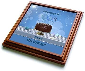 """BEVERLY TURNER 生日设计–85th 生日派对与巧克力蛋糕和蓝色气球–trivets 棕色 8"""" x 8"""""""