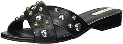 Kenneth Cole New York 女士 Verna Stud X 系带平底凉鞋 黑色 6 M US